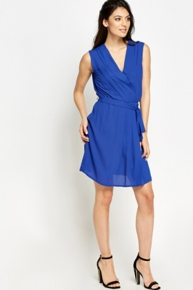 Royal Blue Pleated Wrap Dress
