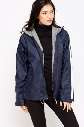 Striped Sleeve Waterproof Jacket