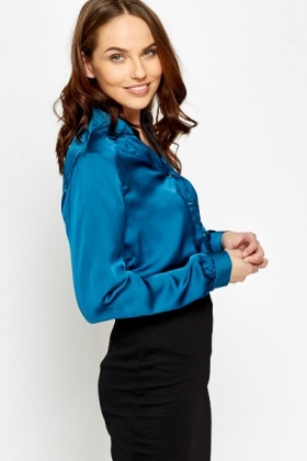Teal Gold Button Blouse