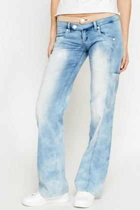 Wash Out Contrast Waist Jeans