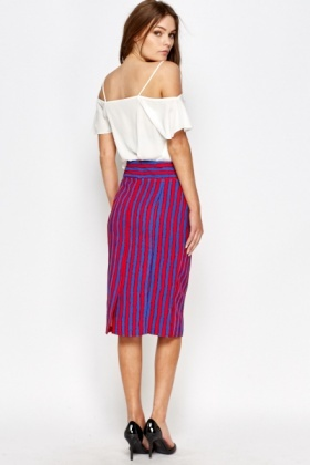 Multi Striped Midi Skirt