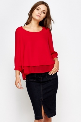 Red Contrast Hem Top