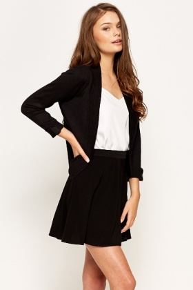 Textured Trim Open Front Cardigan