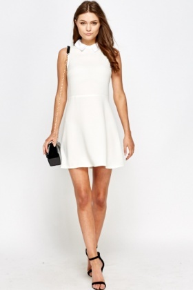White Collar Skater Dress