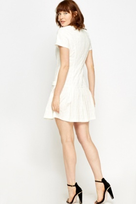 Cream Pleated Skater Dress