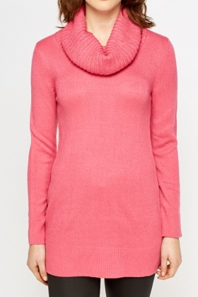 Hot Pink Roll Neck Jumper