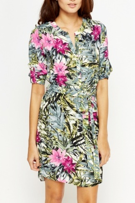 Leaf Print Shirt Dress
