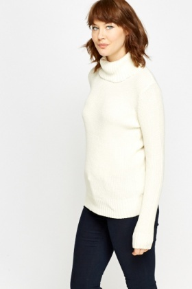 Roll Neck Long Knit Jumper