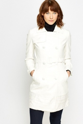 White Jacquard Trench Coat