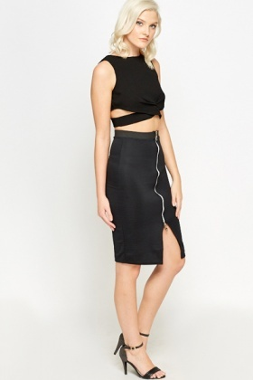 Black Zip Front Ribbed Skirt