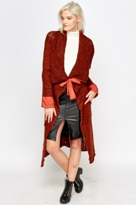 Bobble Knit Long Waterfall Cardigan