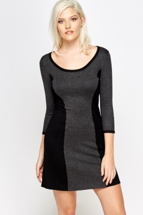 Contrast Panel Swing Dress