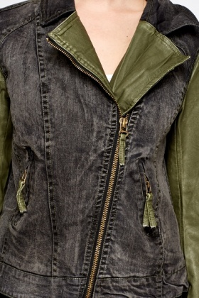 Denim Contrast Biker Jacket