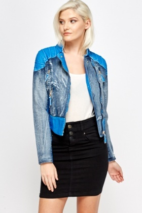 Faux Leather Insert Biker Jacket