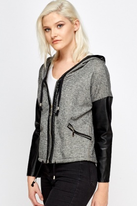 Faux Leather Sleeve Casual Jacket