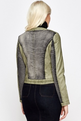 Round Neck Printed Biker Jacket