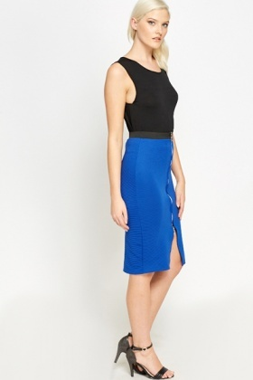 Royal Blue Zip Front Bodycon Skirt