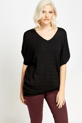 Textured Oversized Fine Knit Top