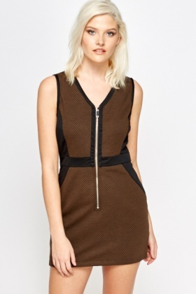 Textured Zip Front Bodycon Dress
