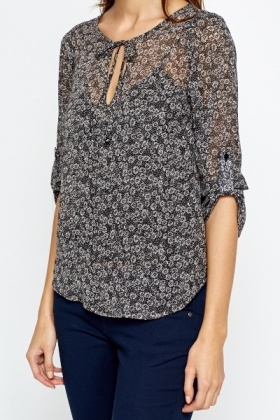 Black Daisy Sheer Blouse