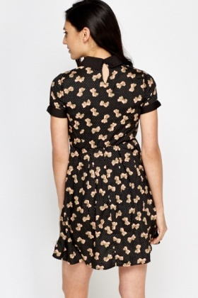 Collared Bow Print Skater Dress
