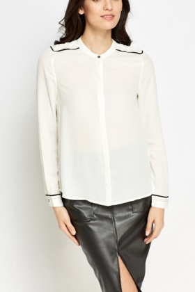 Contrast Trim Button Up Blouse