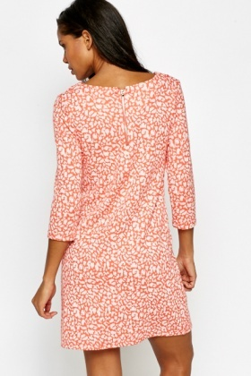 Coral Leopard Shift Dress