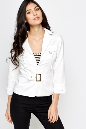 Cotton Blend Buckle Front Jacket