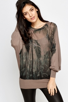 Studded Feather Sheer Knit Top