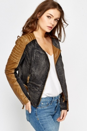 Camel Faux Leather Insert Biker Jacket