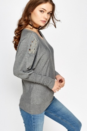 Embellished Shoulder Batwing Top