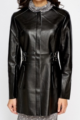 Leather Look Round Neck Jacket