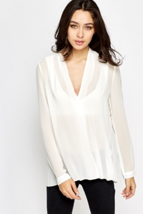 Pleated Back Sheer Blouse