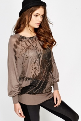 Printed Front Batwing Top