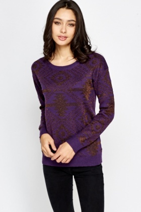 Round Neck Metallic Jumper