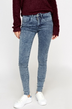 Skinny Washed Denim Jeans