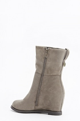 Khaki Wedged Boots