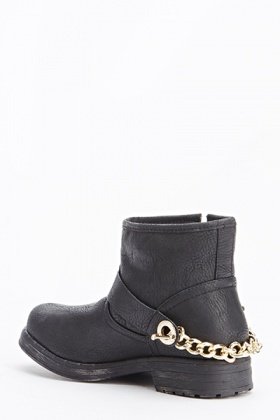 Low Heel Chain Back Boots