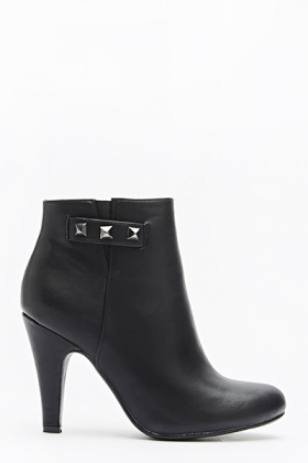 Studded Ankle Black Boots