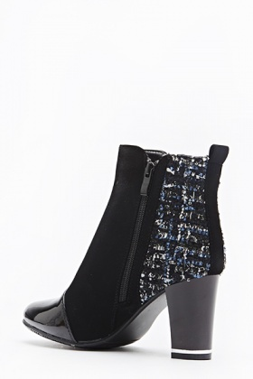 Woven Insert Contrast Boots