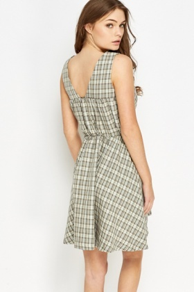 Checked Pleated Dress