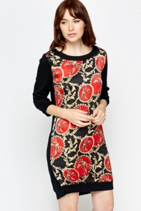 Contrast Ornate Front Shift Dress