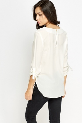 Round Neck Off White Blouse