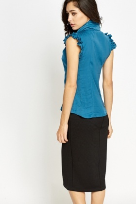 Ruffle Trim Sleeveless Blouse