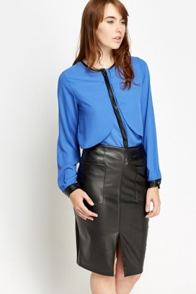 Contrast Trim Overlay Blouse