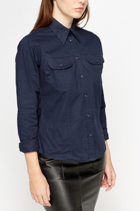 Cotton Blend Navy Casual Shirt