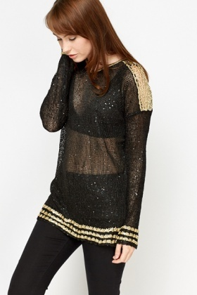 Knit Sheer Sequin Top