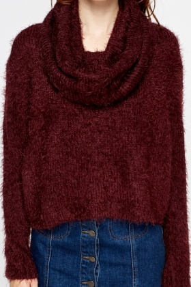Plum Fluffy Jumper And Snood Set
