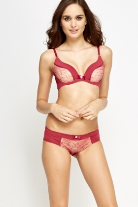 Lace Insert Padded Bra And Brief Set