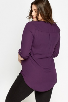 Purple Dip Hem Blouse
